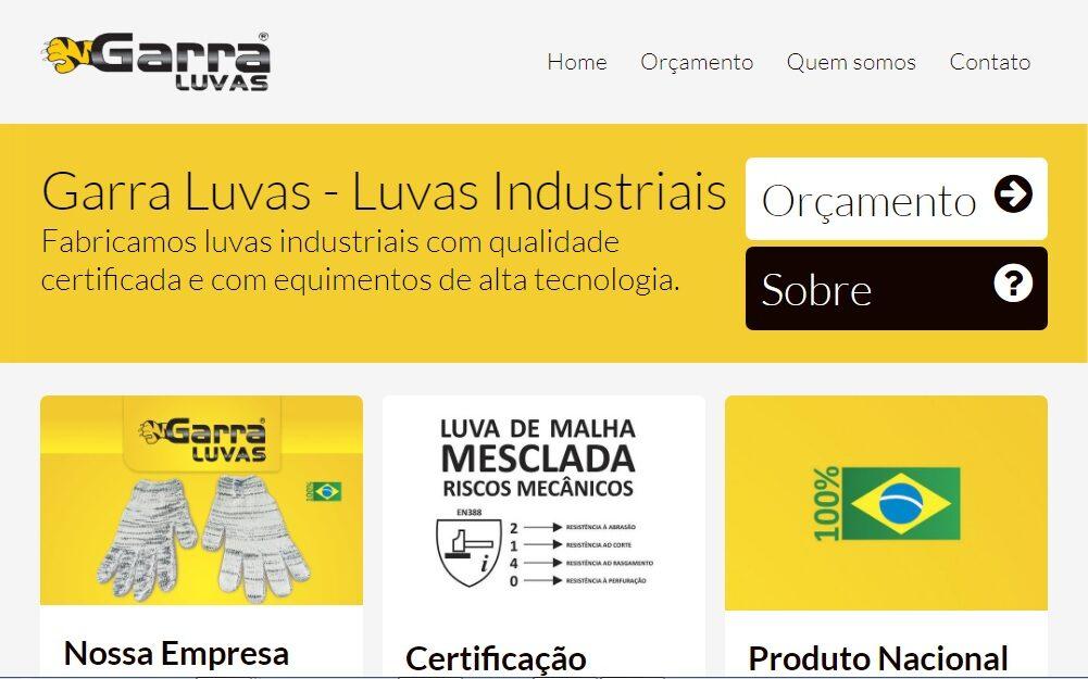 Criação do Site para a fábrica Garra Luvas de Joinviie/SC